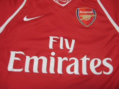 NIKE DRY FIT ARSENAL FLY EMIRATES SOCCER JERSEY-SMALL | eBay