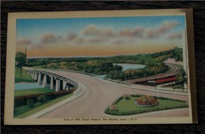 Details about Vintage Color Tone Lithograph Postcard, 18th Street Viaduct,  Des Moines, Iowa