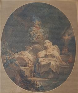Beautiful Frame Gilt Accents Responsible Antique La Bonne Mere Art Etching Print