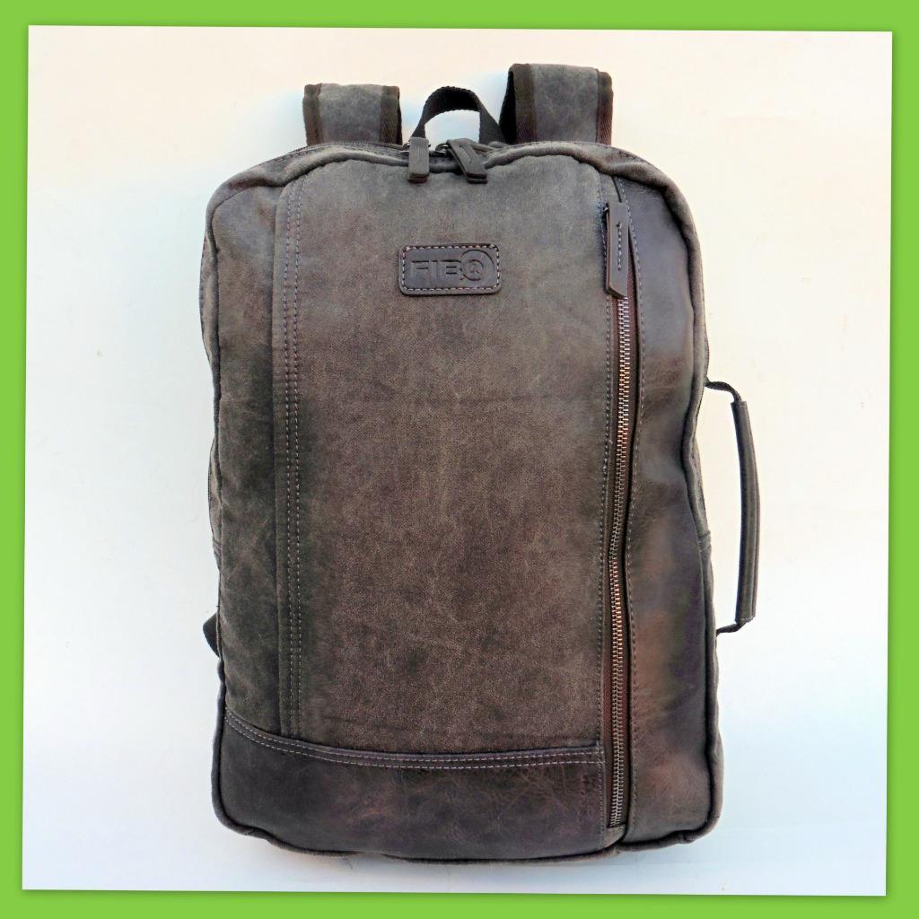 81f84be9f8ef Details about Large Fib Canvas Laptop Backpack Messenger Shoulder Bag  Travel DayPack Biker NEW