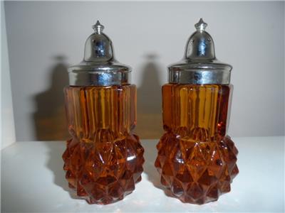 Antique amber Indiana Glass Salt and Pepper Shaker Set
