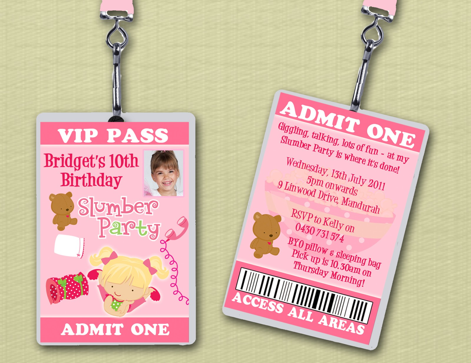 VIP Lanyard Slumber Party Birthday Invitations | eBay