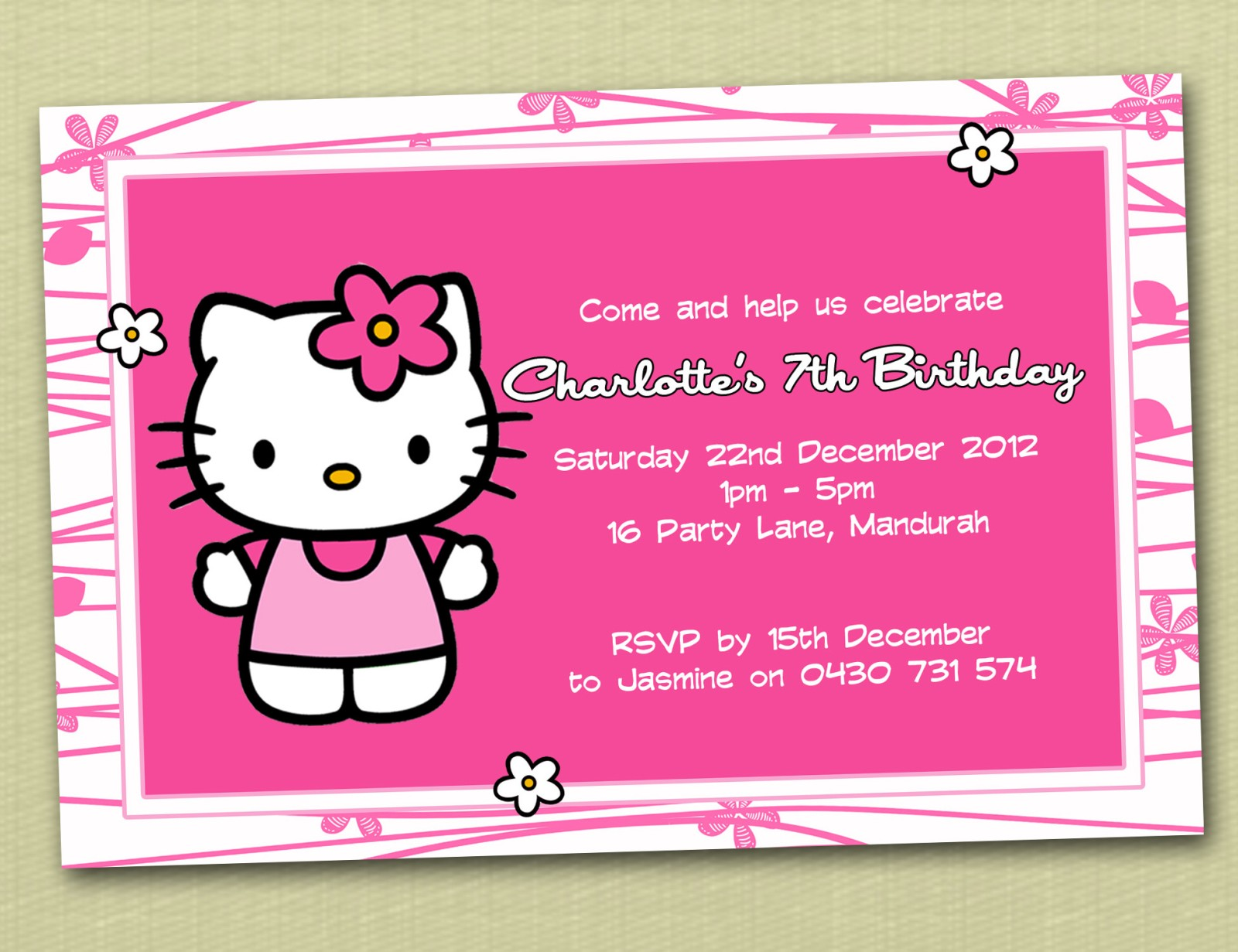 Personalised Hello Kitty Birthday Invitations