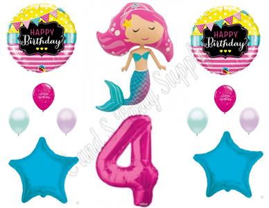 Details About PINK MERMAID 4th Birthday Party Balloons Decoration Supplies Ocean Luau Beach