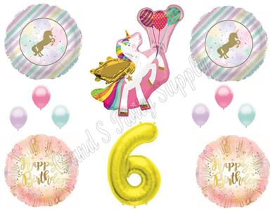 Details About WINGED UNICORN 6th Happy Birthday Party Balloons Decoration Pastel Gold Sixth