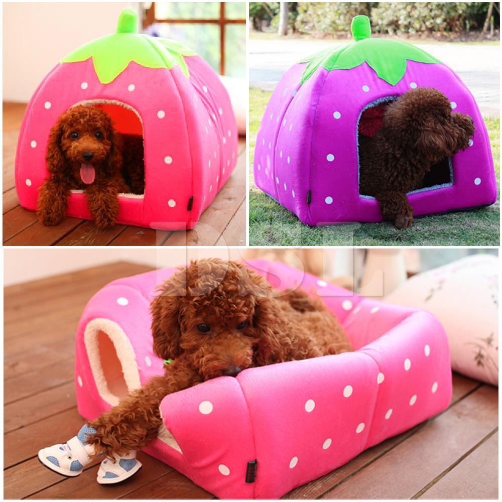 weich erdbeere haustier igloo hund katze bett haus. Black Bedroom Furniture Sets. Home Design Ideas