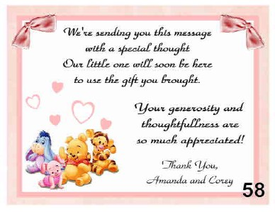babyshower thank you card