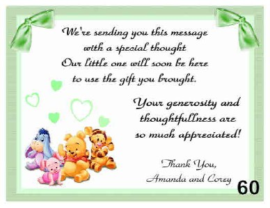 Personalized Pooh Baby Shower Thank You Cards W Env