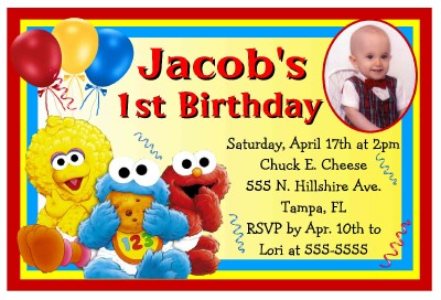 BABY SESAME STREET ELMO BIRTHDAY PARTY INVITATIONS wphoto – Sesame Street 1st Birthday Invitations