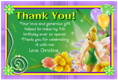 TINKERBELL BIRTHDAY THANK YOU CARDS DIGITAL