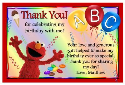 Elmo Sesame Street Birthday Thank You Cards Ebay