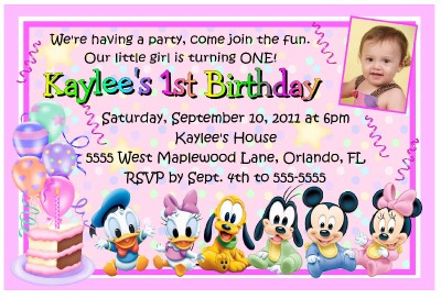 MINNIE MOUSE DISNEY BABIES 1ST BIRTHDAY INVITATIONS eBay