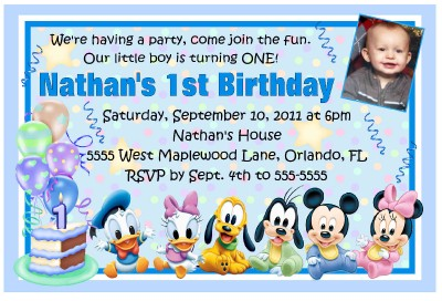 Mickey mouse disney babies 1st birthday invitations ebay 4 x 6 invitation design stopboris