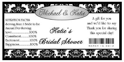 30 black damask bridal shower water bottle labels waterproof ink