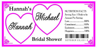 30 hearts bridal shower water bottle labels waterproof ink any color