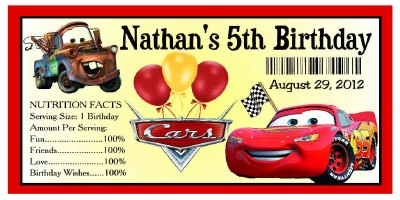 20 DISNEY CARS BIRTHDAY PARTY FAVORS WATER BOTTLE LABELS eBay