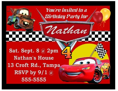 9 MAGNETIC DISNEY CARS BIRTHDAY PARTY INVITATIONS MAGNETS | eBay