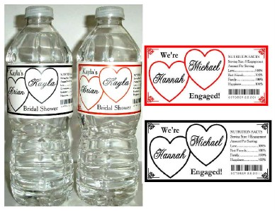 20 Engagement Party Favors Water Bottle Labels Waterproof