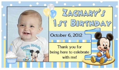 12 BABY MICKEY MOUSE 1ST BIRTHDAY PARTY FAVORS PHOTO MAGNETS – Baby Mickey Invitations Birthday