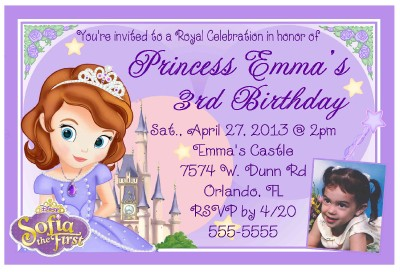 PRINCESS SOFIA THE FIRST BIRTHDAY INVITATIONS DESIGN W Photo