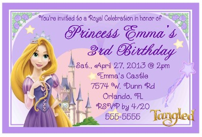 RAPUNZEL TANGLED BIRTHDAY INVITATIONS DESIGN eBay