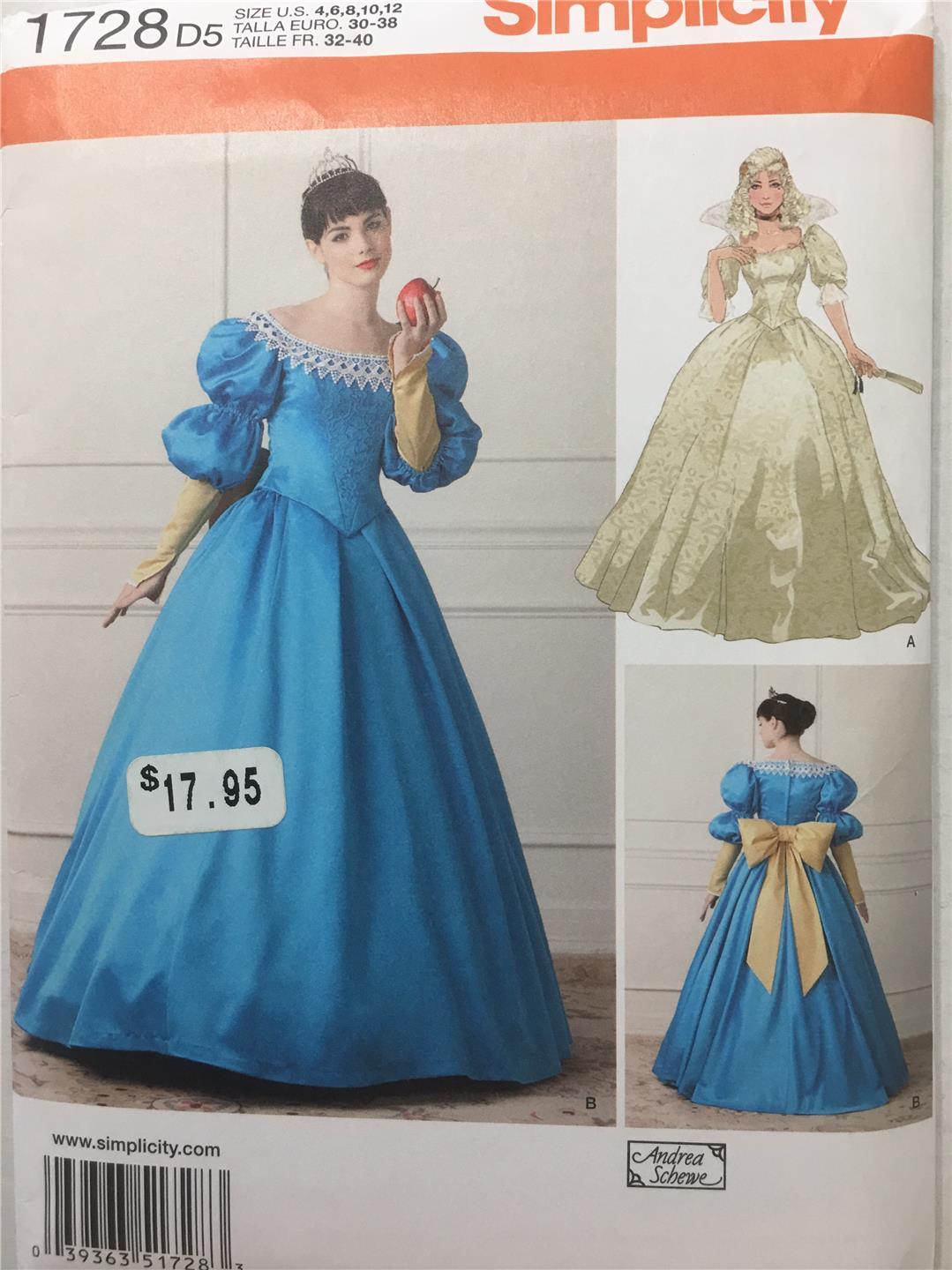 Simplicity SewingPattern 1728 Costume Renaissance Ball Gown Misses ...