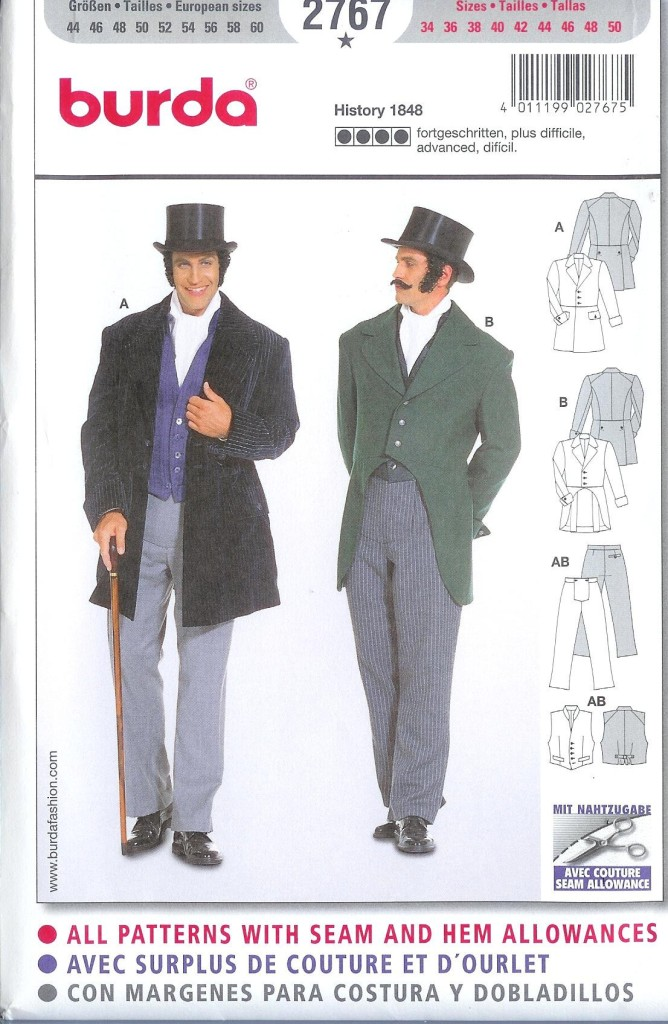Burda 2767 Sewing Pattern Mens 19th Century Historical Costume | eBay