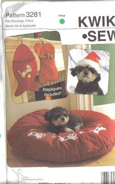 Kwik Sew Sewing Pattern 3281 Dog Cat Christmas Stocking Bone Fish ...