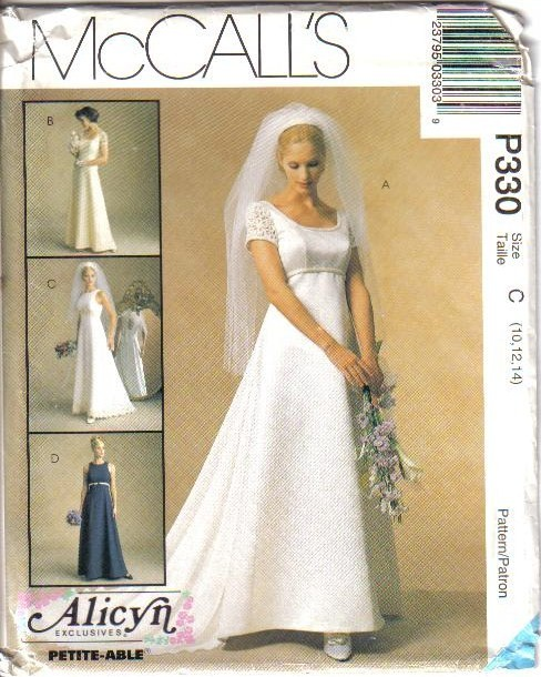 Wedding Gown Dress Patterns: OOP Bridal Wedding Gown Bridesmaid Dress Misses Size