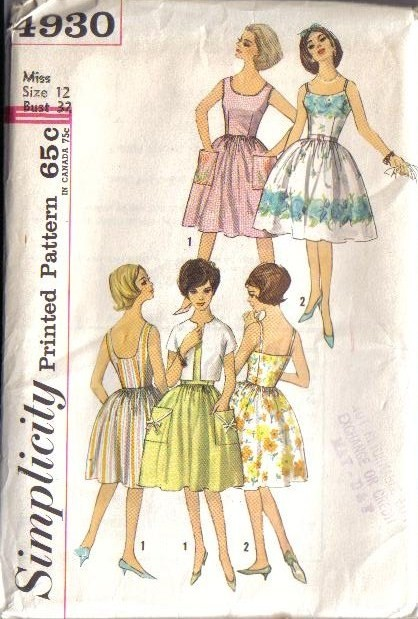 Vintage 1950s 1960s Simplicity Dress Sewing Pattern Misses
