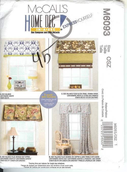 Oop Mccalls Sewing Pattern Window Treatment Curtains Toppers