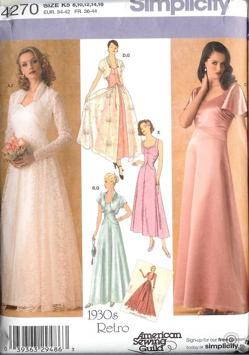 Simplicity Sewing Pattern Bridal Evening Gown Bridesmaid