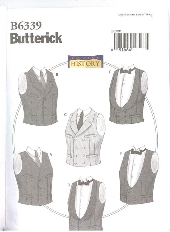 Mens Historic Costume Sewing Pattern Vintage Lined Vests 6 Styles ...