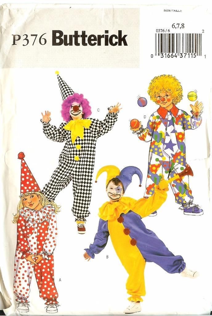 oop butterick patterns clown halloween costume pattern kids