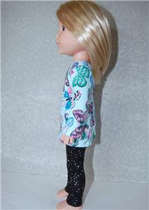 """Pants /& Top for 14.5/"""" Wellie Wishers Doll Clothes TKCT handmade Llama//Black"""