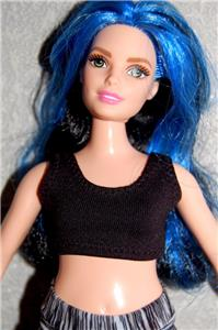 Sports Bra fits Curvy Barbie fashionista Doll Clothes by TKCT royal blue