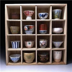 Storage Case Japanese Sake Cup Collection Wooden Stand XA1