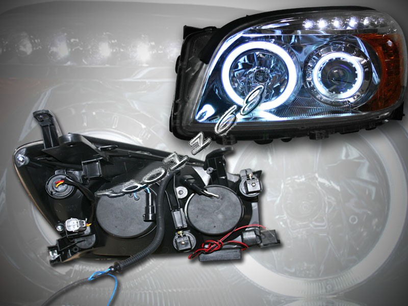 2008 Toyota Rav4 Projector Headlights Chrome Led Two Ccfl Halo