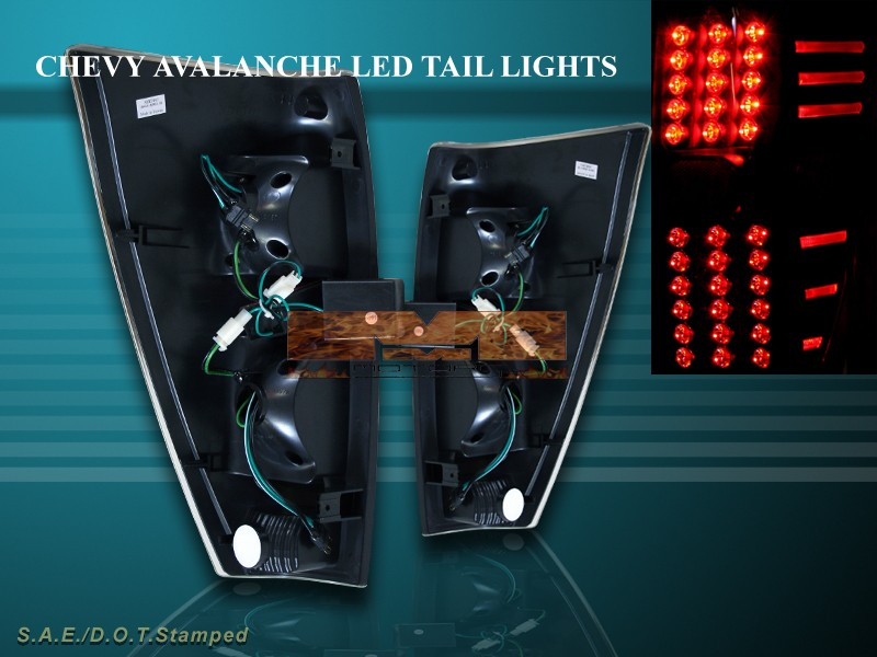 2002 2006 chevy avalanche 1500 2500 tail lights led black. Black Bedroom Furniture Sets. Home Design Ideas