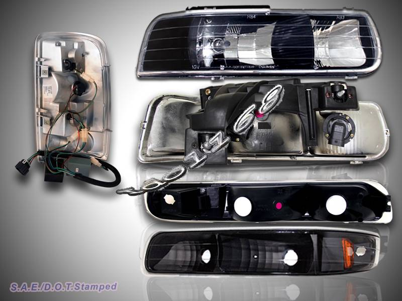2000 06 Chevy Suburban Tahoe Black Housing Headlights