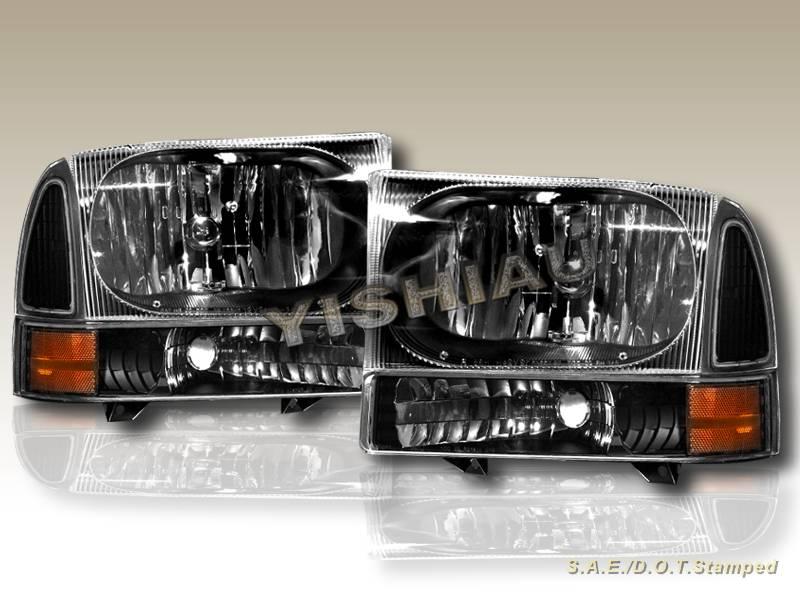 1999 2004 ford f250 350 super duty black headlights. Black Bedroom Furniture Sets. Home Design Ideas