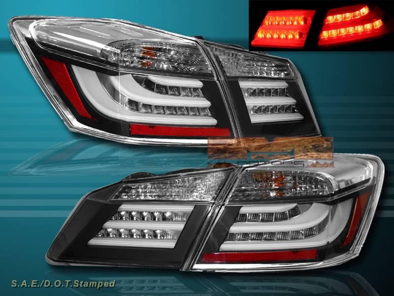 2013 2014 honda accord 4 door sedan led black tail lights rear brake pair new ebay. Black Bedroom Furniture Sets. Home Design Ideas