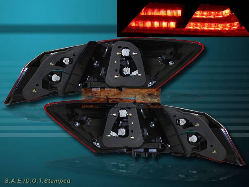 2013 2014 honda accord 4 door sedan red clear led tail lights rear brake pair ebay. Black Bedroom Furniture Sets. Home Design Ideas