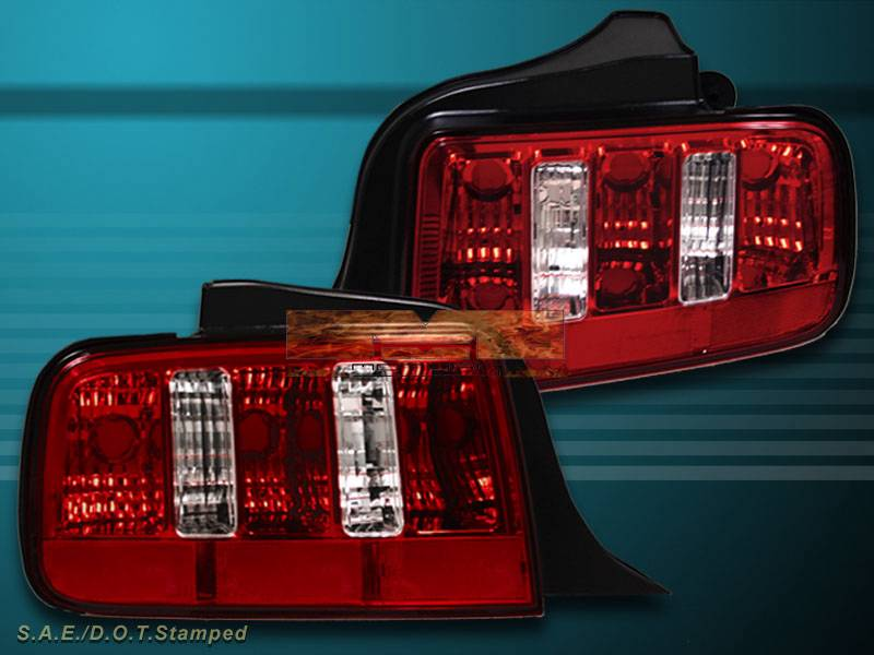 05 09 ford mustang euro red clear tail lights 2010 style. Black Bedroom Furniture Sets. Home Design Ideas