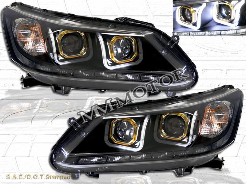 for 2013 2014 honda accord 4dr sedan led u bar halo projector headlights black ebay. Black Bedroom Furniture Sets. Home Design Ideas