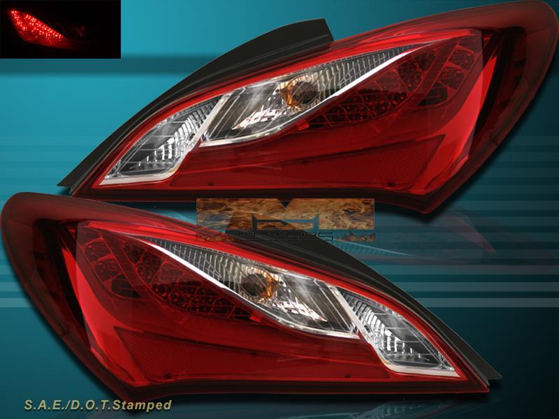fit 2010 2011 2012 2013 genesis coupe 2 door red clear led tail lights ebay. Black Bedroom Furniture Sets. Home Design Ideas