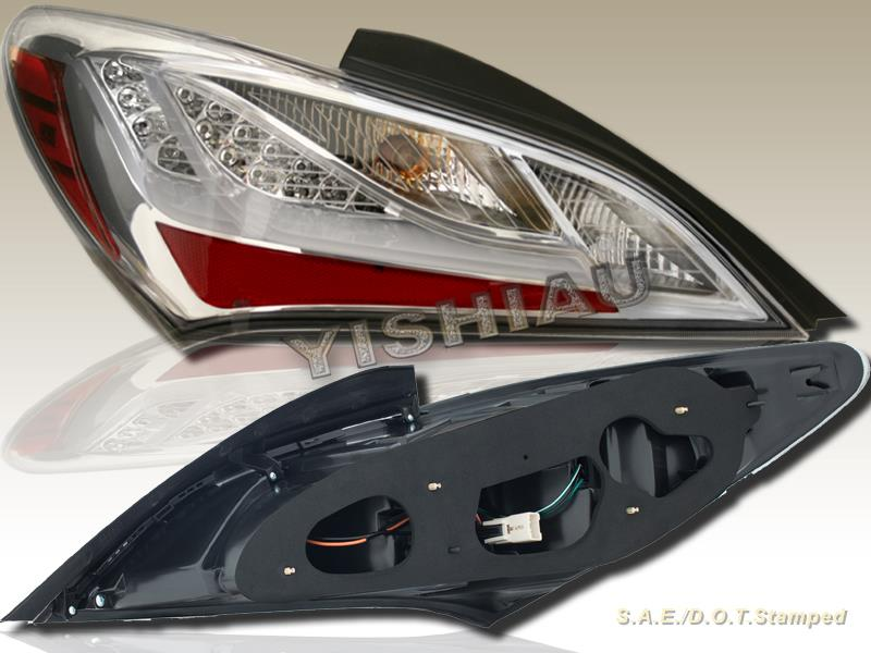 for 2010 2013 genesis coupe 2door chrome led tail lights ebay. Black Bedroom Furniture Sets. Home Design Ideas
