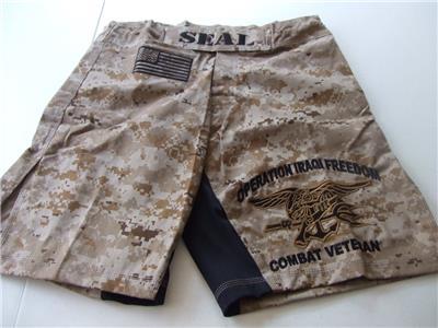 US NAVY SEAL OEF DESERT CAMO COMBATANT MMA PT STREET FIGHT BOARD SHORTS S-5XL