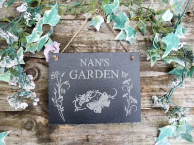 Nan/'s Garden Natural Slate Plaque Butterfly and Flowers Design 13x17cm