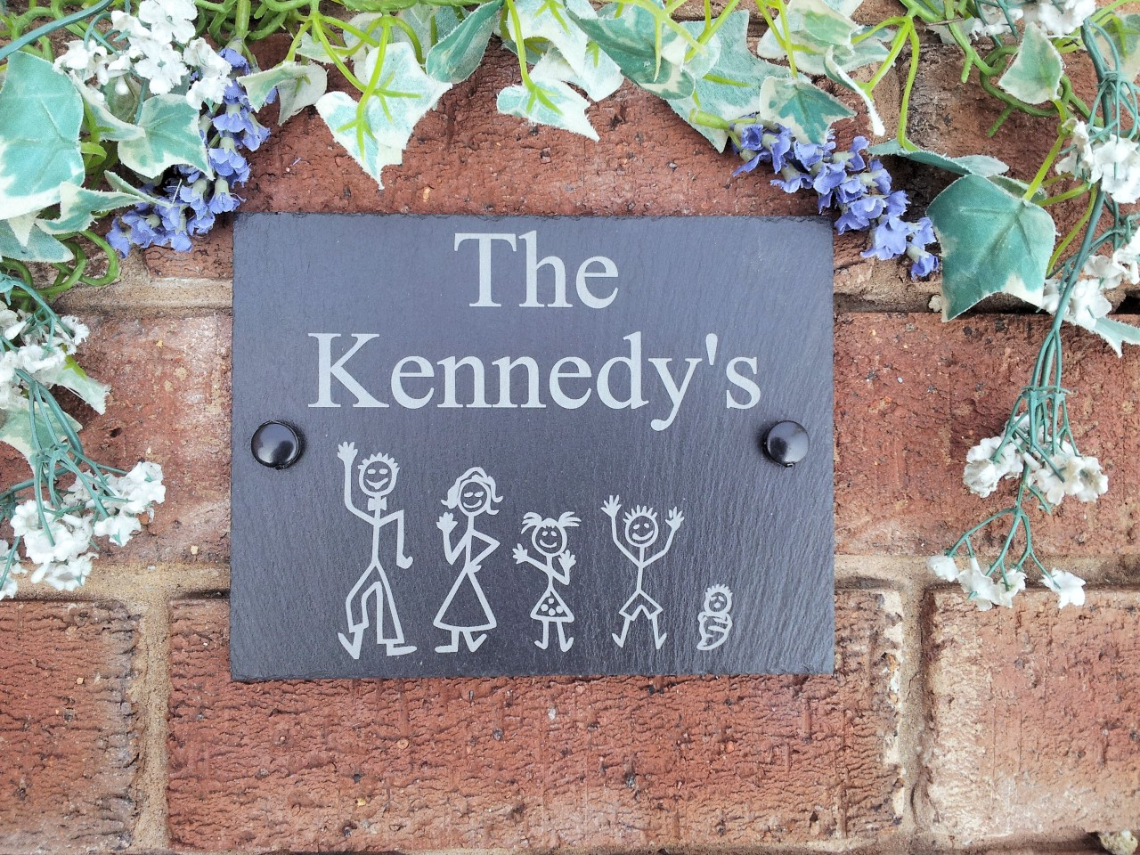 Personalised natural slate stick family house name or number door